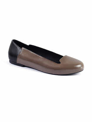 Taupe Black Handcrafted Genuine Leather Shoes