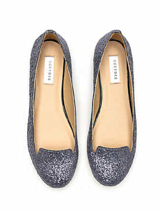 Grey Glitter Handcrafted Genuine Leather Shoes