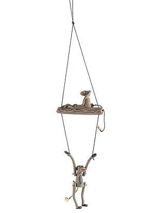 Ceramic Garden Decor with Hanging Monkey Design (L:21.5in, W:5in)