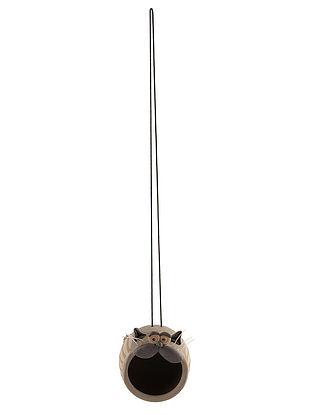 Ceramic Hanging Nest with Cat Design (L:3.5in, W:4.5in, H:4.7in, String:17in)
