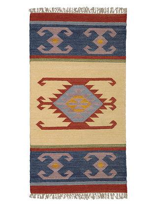 Beige-Blue Handmade Wool Kilim Rug