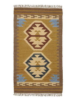 Ochre-Brown Handmade Wool Kilim Rug