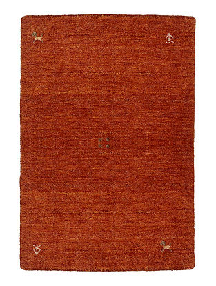Orange Hand-woven Gabbeh Wool and Cotton Carpet