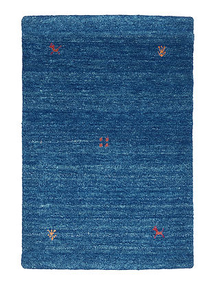 Blue Hand-woven Gabbeh Wool and Cotton Carpet