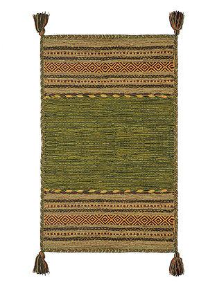 Green Hand-woven Cotton Azizi Kilim Rug