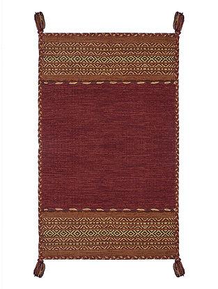 Maroon Hand-woven Cotton Azizi Kilim Rug