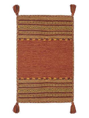 Rust Hand-woven Cotton Azizi Kilim Rug