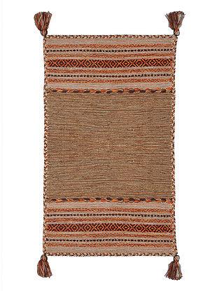 Brown Hand-woven Cotton Azizi Kilim Rug