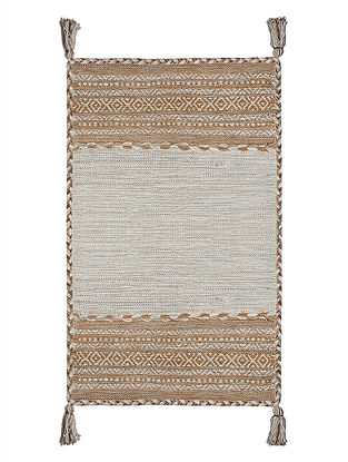 Grey-Brown Hand-woven Cotton Azizi Kilim Rug (3ft x 2ft)