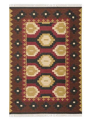 Maroon-Brown Handmade Wool Kilim Rug