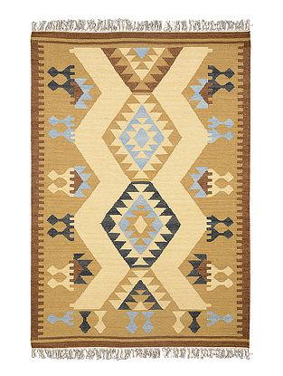 Beige-Brown Hand Woven Wool Kilim Carpet