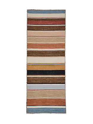 Multicolored Hand Woven Wool Kilim Carpet (6.4ft x 2.3ft)