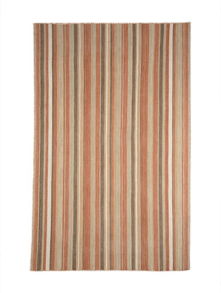 Multicolored Hand Woven Wool Kilim Carpet (8.1ft x 4.10ft)