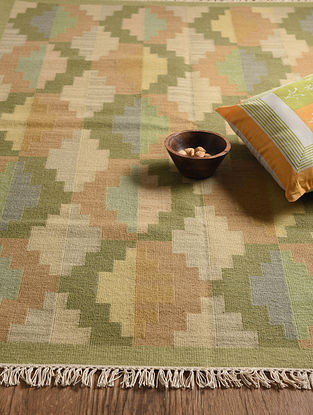 Green Hand Woven Wool and Cotton Kilim Dhurrie