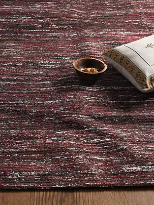 Maroon Hand Woven Sari Silk and Cotton Kilim Dhurrie