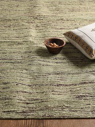 Beige-Brown Hand Woven Sari Silk and Cotton Kilim Dhurrie