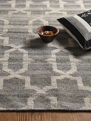 Grey Hand Woven Wool and Cotton Reversible Kilim Dhurrie