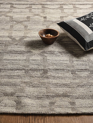 Brown Hand Woven Wool and Cotton Reversible Kilim Dhurrie