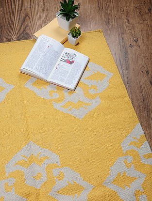 Yellow-White Hand Woven Cotton Two Tone Dhurrie
