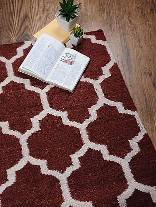 Red-White Hand Woven Cotton Two Tone Dhurrie (5ft x 3ft.2in)