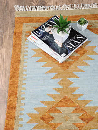 Blue Hand Woven Wool Kilim Dhurrie (3 ft.5in x 2ft)