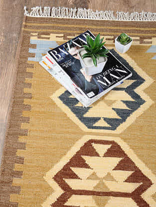 Golden Hand Woven Wool Kilim Dhurrie (3 ft.8in x 2ft.2in)