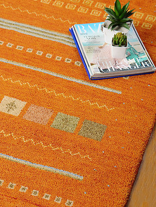 Orange Hand-woven Gabbeh Wool and Cotton Dhurrie