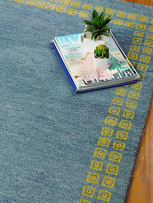 Blue Hand-woven Gabbeh Wool and Cotton Dhurrie