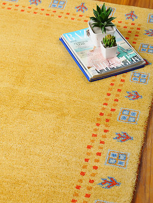 Gold Hand-woven Gabbeh Wool and Cotton Dhurrie