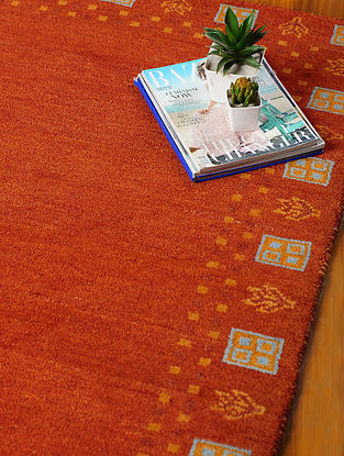Red Hand-woven Gabbeh Wool and Cotton Dhurrie