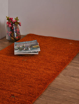 Rust Hand Loom Wool and Cotton Carpet (4ft x 2ft 2.5in)