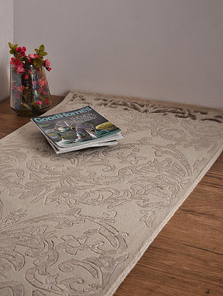 Beige Handloom Wool and Cotton Carpet (5ft 10in x 2ft 4in)