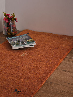 Orange Hand Loom Wool and Cotton Carpet (4ft x 2ft 3in)