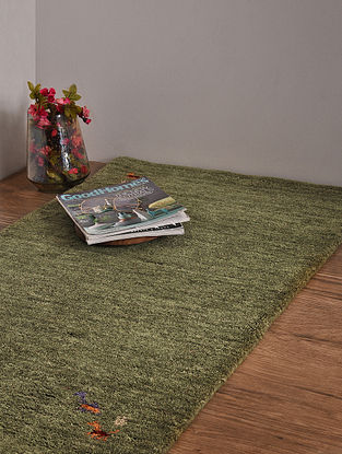 Olive Hand Loom Wool and Cotton Carpet (4ft x 2ft 4in)