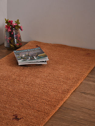 Beige Hand Loom Wool and Cotton Carpet (4ft x 2ft 4in)