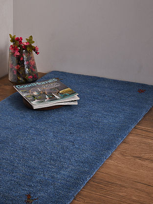 Light Blue Hand Loom Wool and Cotton Carpet (4ft x 2ft 2.5in)