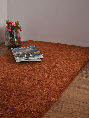 Brown Hand Loom Wool and Cotton Carpet (4ft x 2ft 4in)