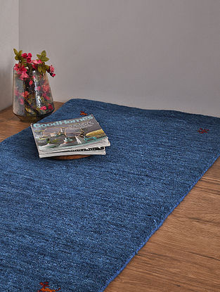 Blue Hand Loom Wool and Cotton Carpet (4ft 1in x 2ft 4in)