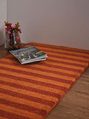 Red and Golden Hand Loom Wool and Cotton Carpet (4ft 1in x 2ft 4in)