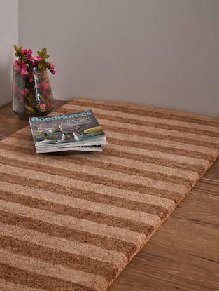 Beige and Brown Hand Loom Wool and Cotton Carpet (4ft x 2ft 3in)