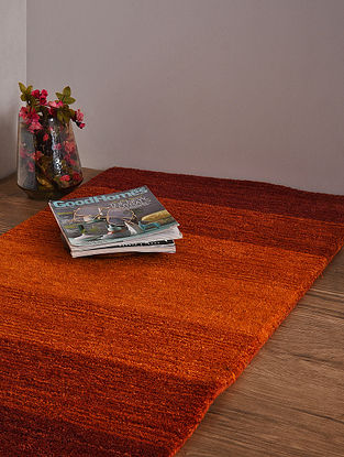 Red and Golden Hand Loom Wool and Cotton Carpet (4ft x 2ft 2.5in)