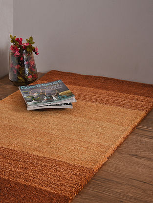 Golden and Brown Hand Loom Wool and Cotton Carpet (4ft x 2ft 3.5in)
