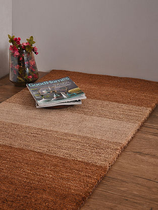 Beige and Brown Hand Loom Wool and Cotton Carpet (4ft x 2ft 3.5in)