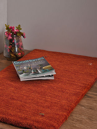 Rust Hand Loom Wool and Cotton Carpet (3ft x 2ft)