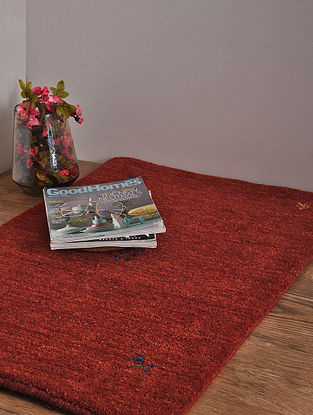 Red Hand Loom Wool and Cotton Carpet (3ft x 2ft 1in)
