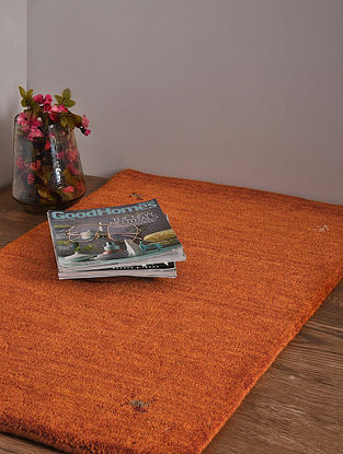 Orange Hand Loom Wool and Cotton Carpet (3ft x 2ft)