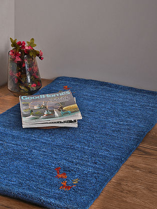 Blue Hand Loom Wool and Cotton Carpet (3ft x 2ft)