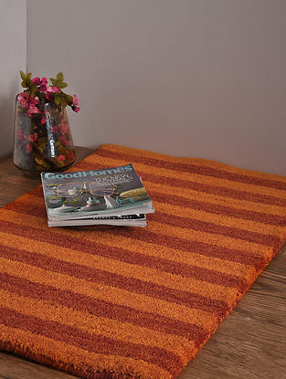 Red and Golden Hand Loom Wool and Cotton Carpet (2ft 11in x 2ft)