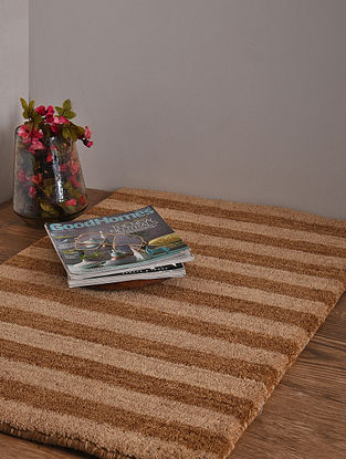 Beige and Brown Hand Loom Wool and Cotton Carpet (2ft 11in x 2ft)