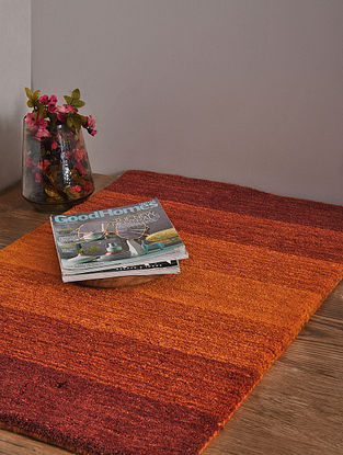Red and Golden Hand Loom Wool and Cotton Carpet (3ft x 2ft 1in)